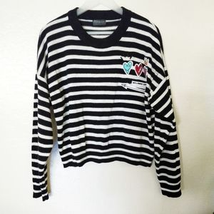 Topshop black white striped patch pullover.